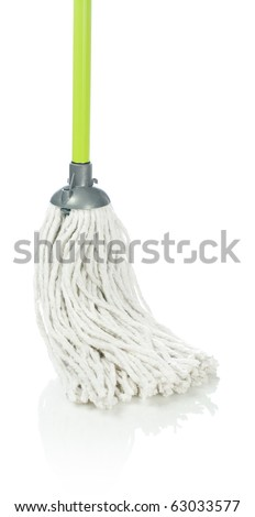 one green mop