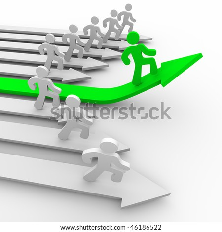 One green runner pulls ahead of the pack, rising on a green arrow - stock photo