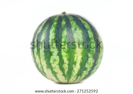 One green striped watermelon isolated on white background - stock photo