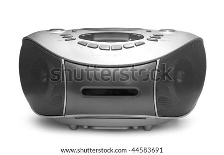 One grey tape recorder isolated on white background - stock photo