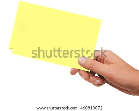 one hand hold on blank note