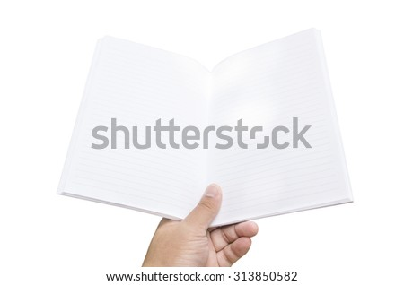 one hand holding a blank book ready with copy space ready for text, isolated on white, with clipping path - stock photo