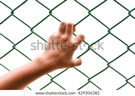One Hand holding on chain link fence on  white background. - stock photo