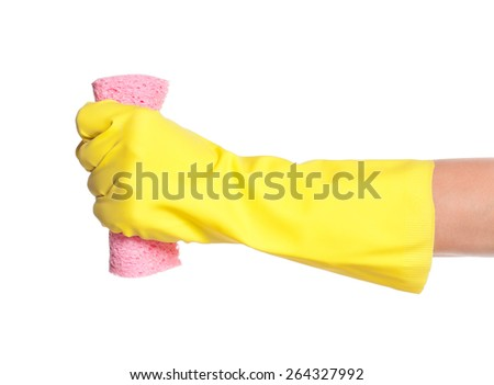 One hand in rubber glove with napkin isolated on white background