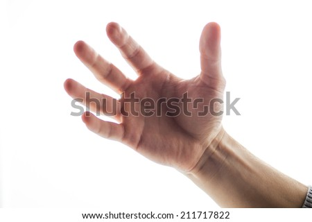 one hand isolated on white background. Male hand showing five fingers isolated