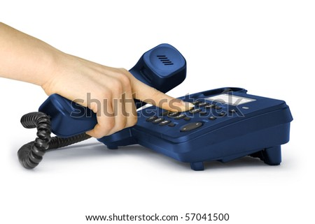 One hand pressing key on black phone - stock photo
