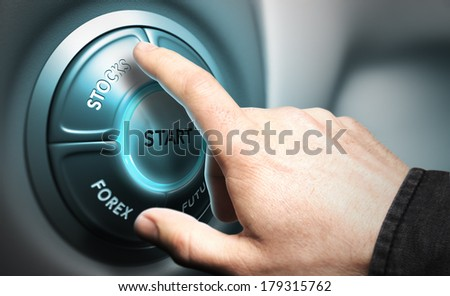 One hand pushing the button stocks, modern design suitable for trading  or stock market illustration, blur effect and blue tone.    - stock photo