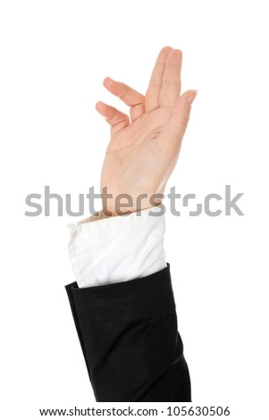 One hand rising up in formal black suit. Isolated on the white background. - stock photo