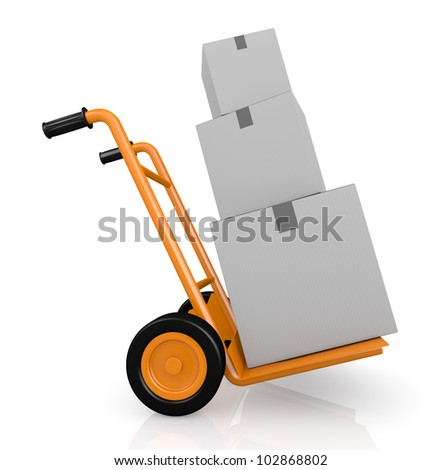 one hand truck (trolley) with three carton boxes (3d render) - stock photo