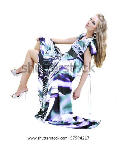 one happy beautiful young woman in beautiful  fashion dress posing isolated on white background in studio - stock photo