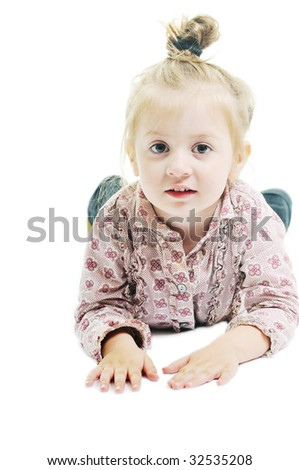 one happy   child isolated on white background
