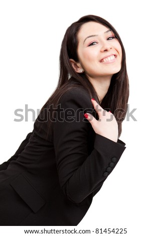 One happy joyful cute business woman isolated on white