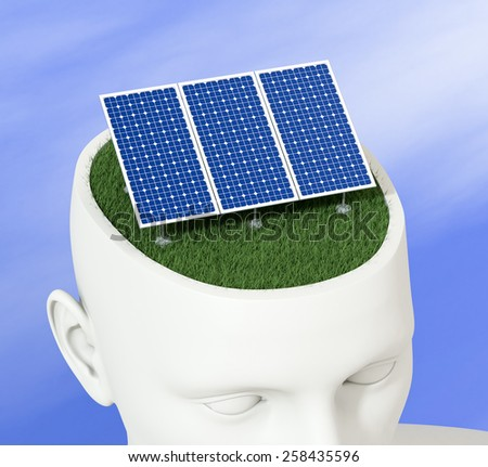 one head of a manikin with a solar panel inside it, concept of clean energy (3d render) - stock photo