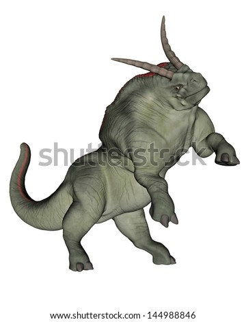 One herdbeast standing on back feet in white background - stock photo