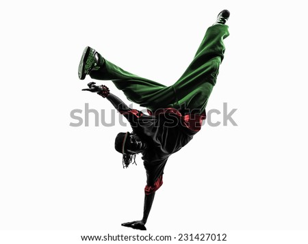 one hip hop acrobatic break dancer breakdancing young man handstand silhouette white background - stock photo
