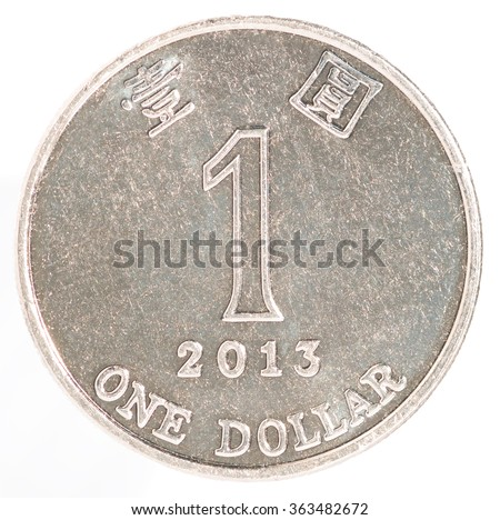 One Hong Kong dollar coin isolated on white background