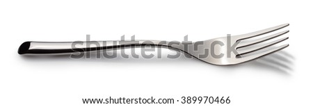one horizontal beautiful silver fork isolated on white background