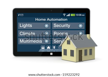 one house and tablet pc with a software for home automation (3d render) - stock photo