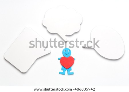 One human figure holding heart empty stock photo download now one human figure holding a heart with empty speech bubbles ccuart Choice Image