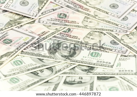 One hundred and fifty dollars banknotes as background - stock photo