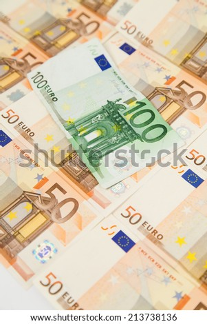 one hundred and fifty euro banknotes  - stock photo