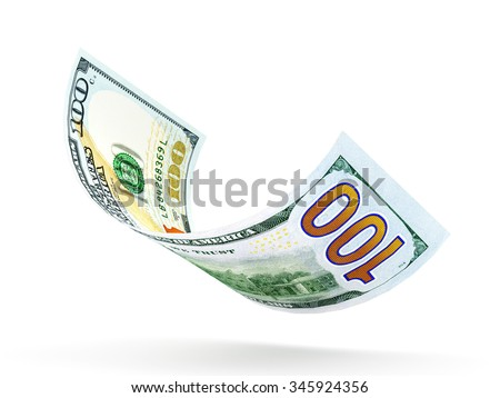 One hundred dollar banknote curled isolated on white background