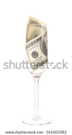 One hundred dollar banknote in the glass. Isolated on a white background