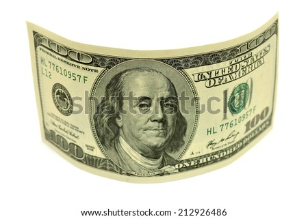 One hundred dollar banknote isolated on white background - stock photo