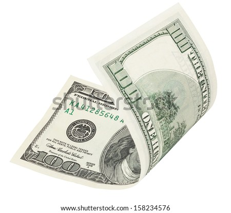 one hundred dollar banknote, isolated on white with clipping path - stock photo