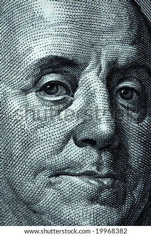 One hundred dollar banknotes crop - Franklin portait - stock photo