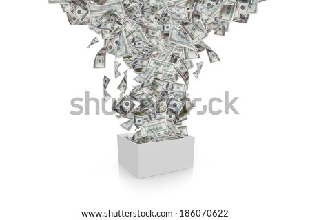 One hundred dollar banknotes flying and streaming from white box, isolated on white background. - stock photo