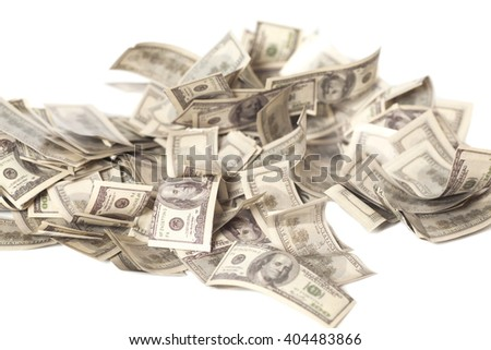 One hundred dollar banknotes heap isolated on white - stock photo
