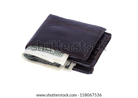 One hundred dollar banknotes in wallet, isolated on white background. - stock photo