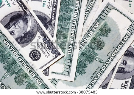 One hundred dollar banknotes pattern background - stock photo
