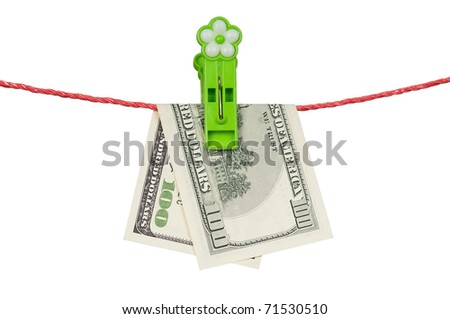 One hundred dollar bill hanging on a clothesline isolated on white background