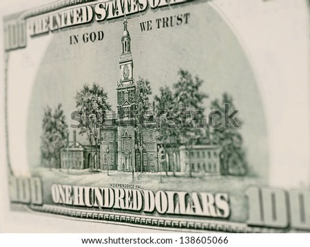 one hundred dollar bill on a background - stock photo