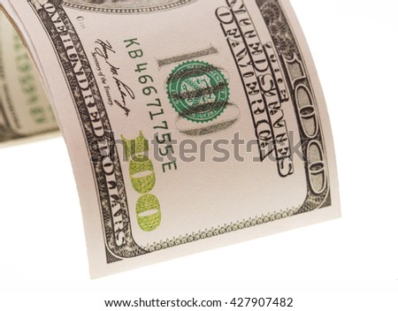 one hundred dollar bill on a white background