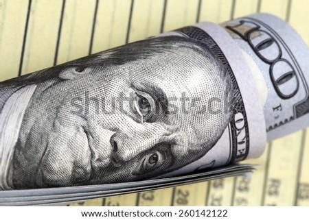 one hundred dollar bill with benjamin franklin image  - stock photo