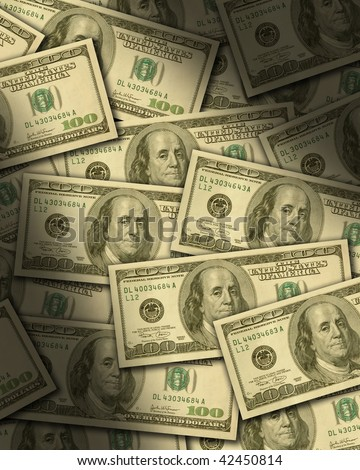One hundred dollar bills lying flat, dramatically lit. Vertical - stock photo