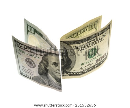 One hundred dollar bills new and old design on a white background - stock photo