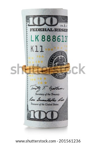 One hundred dollar bills rolled. Clipping Path - stock photo