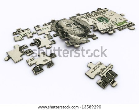 One hundred dollar on jigsaw puzzle - rendered in 3d - stock photo
