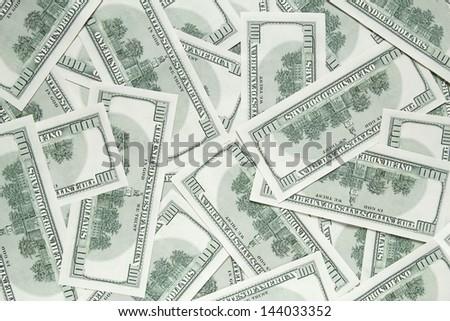 one hundred dollars background. back side of banknotes - stock photo