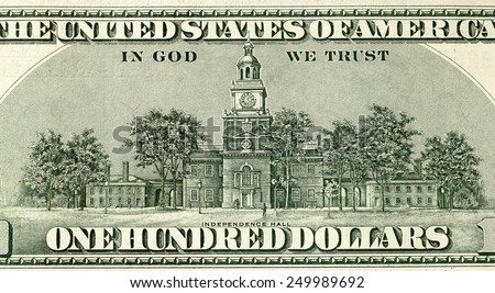 one hundred dollars background. back side of banknotes - stock photo