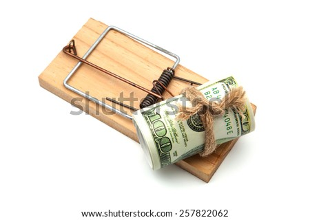 one hundred dollars banknote in the mousetrap - stock photo