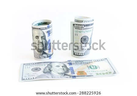 One hundred (100) dollars banknote on white background. Large denominations US dollar. Currency, business and finance concept. - stock photo