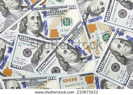one hundred dollars banknotes background (new 2013 edition) - stock photo