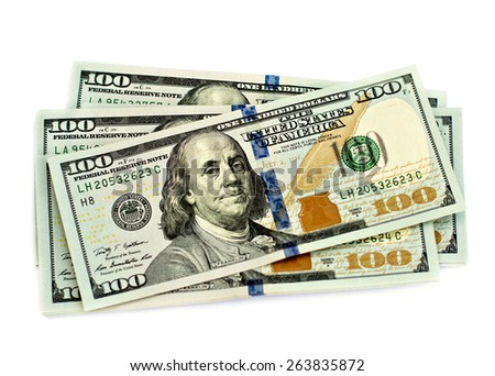 One hundred dollars banknotes isolated on white background - stock photo