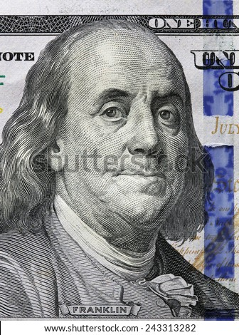 One Hundred Dollars. Benjamin Franklin portrait. USD, The United States currency, money concept - stock photo