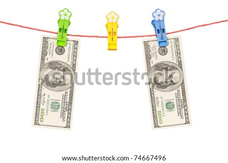 One hundred dollars bill hanging on a clothesline isolated on white background - stock photo